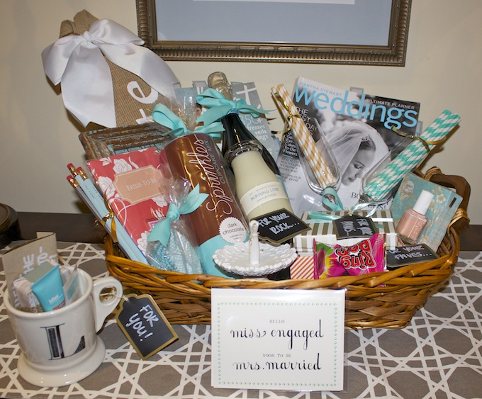 Part Of Her Surprise Was This Engagement Basket I Put Together To Congratulate It Is The Perfect Diy Gift For A Sister Bff Cousin And Especially If