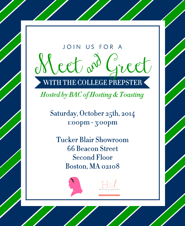 Boston meet greet with the college prepster hosting tucker blair showroom and i dont think it could be a more perfect space rsvp below to join us for treats shopping i look forward to meeting yall m4hsunfo